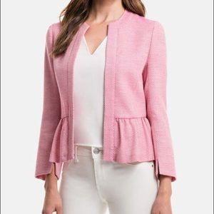 Pink Magenta Tweed Peplum Blazer Jacket